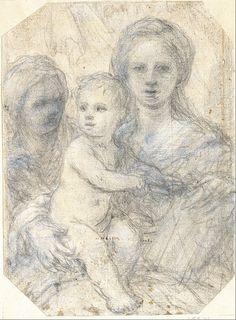 Sirani -Elisabetta-Madonna-and-Child-1660s-drawing-Museum-Kunstpalast-Düsseldorf