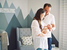 modern nursery with mountain mural - Melissa Jill Photography