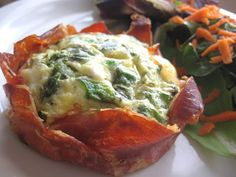 My Fare Foodie.: Springtime Green Eggs and Ham – Asparagus, Green Pea, and Goat Cheese Quiche in Prosciutto Cups