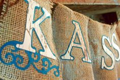 Burlap Bridal Banner with Teal letter trim and Wood Grain image paper.  Rustic wedding love....