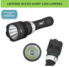 Linternas LED e iluminacion para deportes de buceo y submarinismo. Linterna buceo 1200 lúmenes marca SHARP EAGLE por menos de 25€