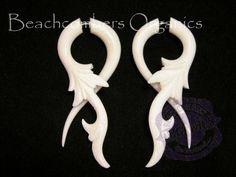 "Carved Long Twists Buffalo Bone Split Expander White Organic Earrings Fake Tapers 2 1/4"""