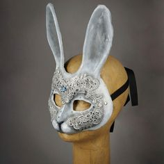 White and Silver Lace Bunny Rabbit Masquerade Mask with gems and Swaro – Erik's Inspiration Bunny Mask, Mask Ideas, Venetian Masks, Bunny Rabbit, Mask Design, Mardi Gras, Masquerade, Alice In Wonderland, Swarovski Crystals