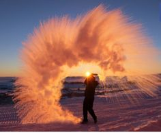 This is what happens when you throw hot water into the air in Antartica