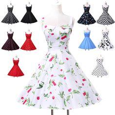 Pin up Vintage1950s style Blumenmuster/Gepunktet Sommer Swing Nachmittagskleid