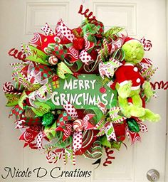The Grinch Christmas Wreath- Holiday Wreath- Deco Mesh Wreath- Front Door Wreath Grinch Christmas Decorations, Christmas Mesh Wreaths, Whimsical Christmas, Christmas Themes, Christmas Holidays, Le Grinch, Grinch Christmas Party, Christmas Tree Inspiration, Deco Mesh