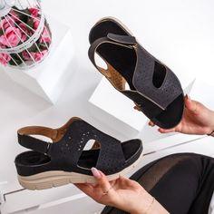 Sandale dama talpa ortopedica negre Eufolia