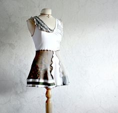 Women's White Tunic Reconstructed Top Eco Friendly Clothes Upcycled Gray Shirt Bohemian Clothing Gypsy Style XS Small 'GRETCHEN'