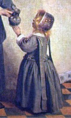 """The painting by Pieter de Hooch (1658), illustrates the use of """"leading strings"""", strips of fabric sewn into the clothing of young children. From The Fiery Cross (Outlander 5th Book) by Diana Gabaldon,   """"Jemmy was on the ground nearby, his leading-strings securely tied to the paddock fence.  He certainly didn't need them to help him stay upright, but they did keep him from escaping while his mother was busy."""""""