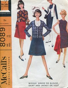 Sewing Patterns Vintage Out of Print Retro,Over 7000 ,Vogue Simplicity McCall's - McCall's 8089 Retro 1960's Mod Dress Jacket Vest 32