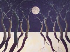 Moon Dance Surreal Landscape Fine Art Print by annarobertsart
