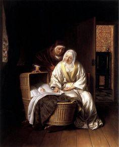 Samuel van Hoogstraten (1627-1678): Two Women By A Cradle