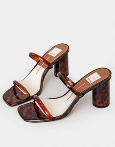 Barely there sandals featuring a round architectural heel and square-shaped toe in a vinyl tortoiseshell print. Made by Dolce Vita. High Heels, Shoes Heels, Pumps, High Heel Sneakers, Cute Shoes, Me Too Shoes, Funky Shoes, Looks Dark, Aesthetic Shoes