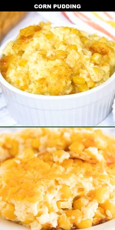This classic Southern corn pudding is a creamy, baked side dish that is easy to make from scratch — the perfect comfort food! Sweet whole kernel corn and cream corn are mixed with sugar, butter, milk, and cornstarch before being baked. Baked Corn Casserole, Corn Pudding Casserole, Easy Corn Pudding, Cream Corn Casserole, Cornbread Pudding, Corn Pudding Recipes, Pudding Desserts, Dessert Recipes, Sweet Corn Pudding Recipe Jiffy