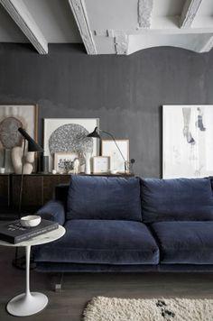 Beautiful dark walls and blue sofa #homedecor