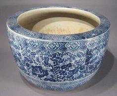 Meiji-era blue & white hibachi