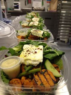 Chargrilled sweet potato and feta cheese salads...