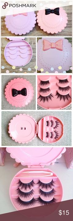 ❤️ NEW Set of 2 Cute False Eyelash Cases ❤️ 2 NEW super cute false eyelash cases. Choose any 2 colors. I have both pink & purple. ❤️ Each case stores 3 pairs of false lashes. Has an area for your eyelash glue. ❤️ Feel free to ask questions. Tagged for exposure. :) ❤️ Bundle 2 or more items from my closet and get 10% off! Free shipping for all items after the first!  Keywords: Japan, Japanese, kawaii, makeup, eyeshadow, lipstick, blush, foundation, falsies, anime, manga, tools, travel…