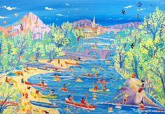 Fun on the River, Saint Antonin, Noble Val, France. Limited Edition Print by John Dyer