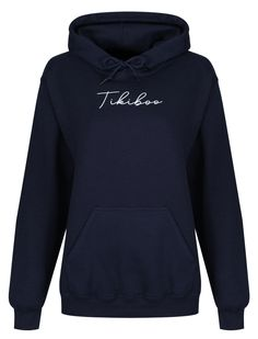 A new addition to the Tikiboo Essence collection (featuring loungewear you'll never want to take off), this navy hoodie showcases a white Tikiboo Essence logo on the front, with a warm fleece-lined inner. Loungewear, Loose Fit, Warm, Pocket, Hoodies, Logo, Collection, Style, Fashion