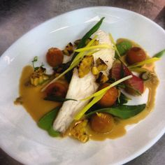 Lemon sole bisque, corn and cherry tomatoes - Losehill House Hotel gourmet food.