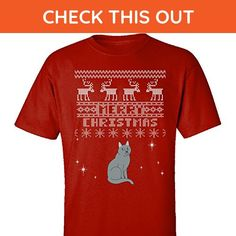 Russian Blue Cats Merry Christmas Ugly Sweater - Adult Shirt M Red - Holiday and seasonal shirts (*Amazon Partner-Link)