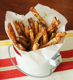 Oven Roasted Fries with Garlic Butter  Parmesan. The perfect side dish with absolutely gorgeous presentation! We'd serve these with a delicious strip sirloin steak!