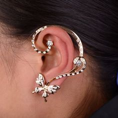 Find More Stud Earrings Information about Best Deal New Diomedes Women Lovely Crystal Butterfly Bowknot Cuff Ear Stud Clip Wrap Earring Xmas Gift 1PC,High Quality earrings for baby girls,China gifts physics Suppliers, Cheap earring dragon from Voberry  Technology Co.,Ltd on Aliexpress.com