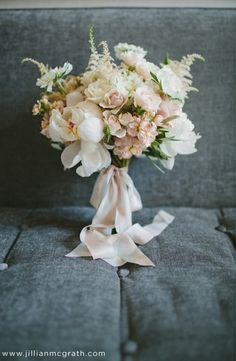 Love the light blush colors with whites/creams and garden-esque feel. Long-ribbon wrap for bouquet(s).