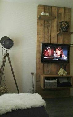 Steigerhouten tv wand, zelf gemaakt