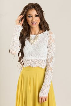 Eleanor Longsleeve White Lace Top - Morning Lavender
