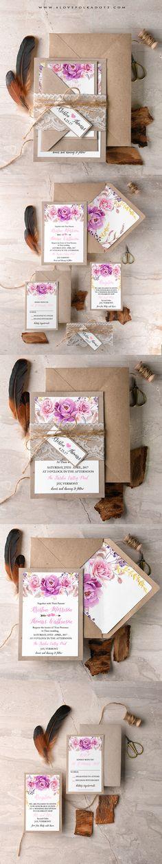 Boho Floral Wedding Invitation - Eco, Lace & Floral printing #boho #bohemianwedding #flowers #weddingideas