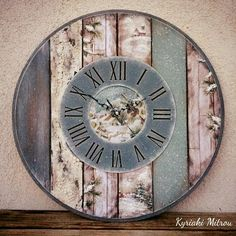 Neşe adlı kullanıcının desenler panosundaki pin винтаж часы, настенные часы ve Clock Craft, Diy Clock, Diy And Crafts Sewing, Wooden Spools, Craft Videos, Chalk Paint, Wood Crafts, Decoration, Decoupage