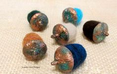 Needle Felted Wool Copper Patina Acorns Set of Six - Made to Order