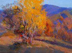 Colorful Landscape Art, Fall Painting Tree, Orange Blue Painting