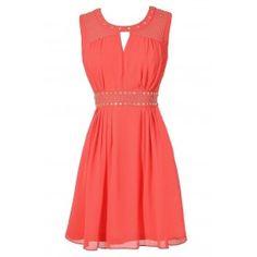 Cute Coral Chiffon Studded Dress, Cute Juniors Coral Chiffon Dress, Cute Coral Summer Dress