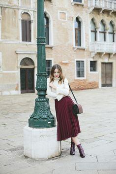 Burgundy skirt and elegant white blouse