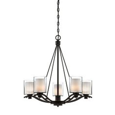 Andover Five Light Oil Rubbed Bronze Chandelier Artcraft Candles W/ 4 Or 5 Shades Chandeli