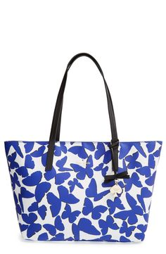Love the bright blue butterfly print on this cute Kate Spade tote.