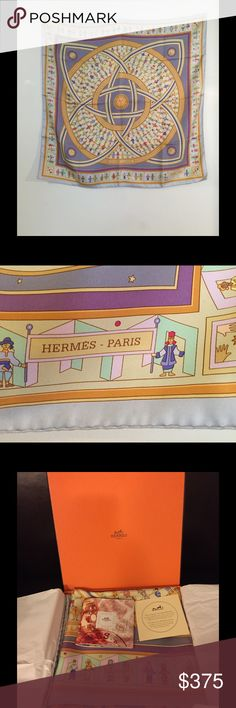 """Hermes """"Donner La Main"""" Silk Scarf in Lavender New, never worn, Hermes """"Donner La Main"""" silk scarf, features people from around the world holding hands -- we could use that type of love these days. Designed by Karen Petrossian. Made in France. Preserved in Hermes box since purchase; box, care card included. Approx: 36in x 36in. Each Hermes scarf/pattern is individually screen-printed with an array of vegetable dyes. It takes up to 43 screens, 2 yrs, & 20 designers in the production of one…"""