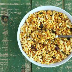 Quinoa Chivda - Savory Cereal/Trail Mix Snack with Puffed Quinoa, Brown Rice Krispies, Cashews, Walnuts, Cranberries and Raisins. Vegan Glutenfree Recipe - Vegan Richa