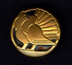 """Pure Art Deco Button Pigeons / Doves - Gilded with Black Enamel 