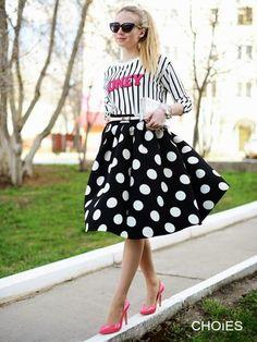 Black Polka Dot Skater Skirt