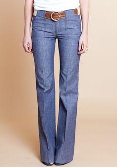 Love these wide-leg denim trousers