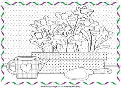 Spring tuinieren kleurplaat, narcissen