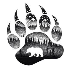 Tatouage maorie, personnaliser un tatou avec un dessin fait maison, pate d'o. Native Art, Native American Art, Bear Paw Tattoos, Grizzly Bear Tattoos, Moose Tattoo, Animal Drawings, Art Drawings, Stippling Art, Spirit Bear
