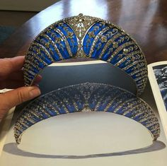 A couple more of Chaumet's beautiful blue enamel and diamond tiara, formerly with the Dukes of Westminster. Holding it up to the light shows off the transparency of the enamel