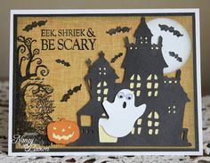 Creatively Artsy Card Gallery: Joyful Stars October Blog Hop Halloween Haunted Houses, Cute Halloween, Halloween Cards, Paper Halloween, Thanksgiving Cards, Fall Cards, Scrapbook Paper Crafts, Card Tags, Kids Cards