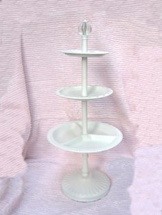 """Tall 21"""" 3 Tiered Server and/or Jewelry Display Holder Cake/Cookie/Pastry/Cupcake Stand Chic White Shabby Cottage Paris Earring Stand Etc by VintageChicPleasures on Etsy"""