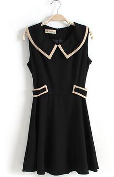 Black Lapel Sleeveless Belt Chiffon Dress love piping